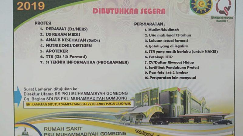 Informasi Lowongan Pekerjaan Tenaga Kesehatan RS PKU Muhammadiyah Gombong