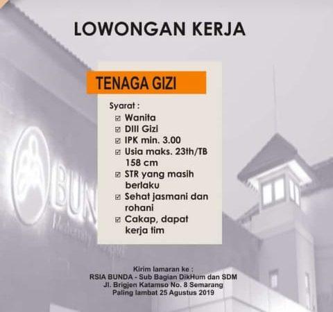 Lowongan Pekerjaan Tenaga Gizi di RSIA Bunda Semarang