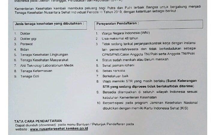Rekrutmen Tenaga Kesehatan Nusantara Sehat Individual Periode III tahun 2019