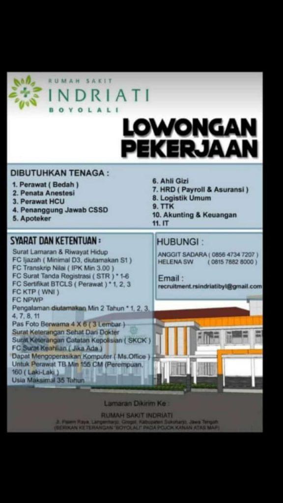Informasi Lowongan Pekerjaan Di Rs Indriati Boyolali Jawa Tengah Gizi Unimus