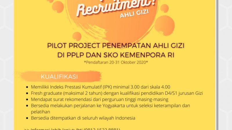 Recruitment Pilot Project Ahli Gizi di Kemenpora RI 2020